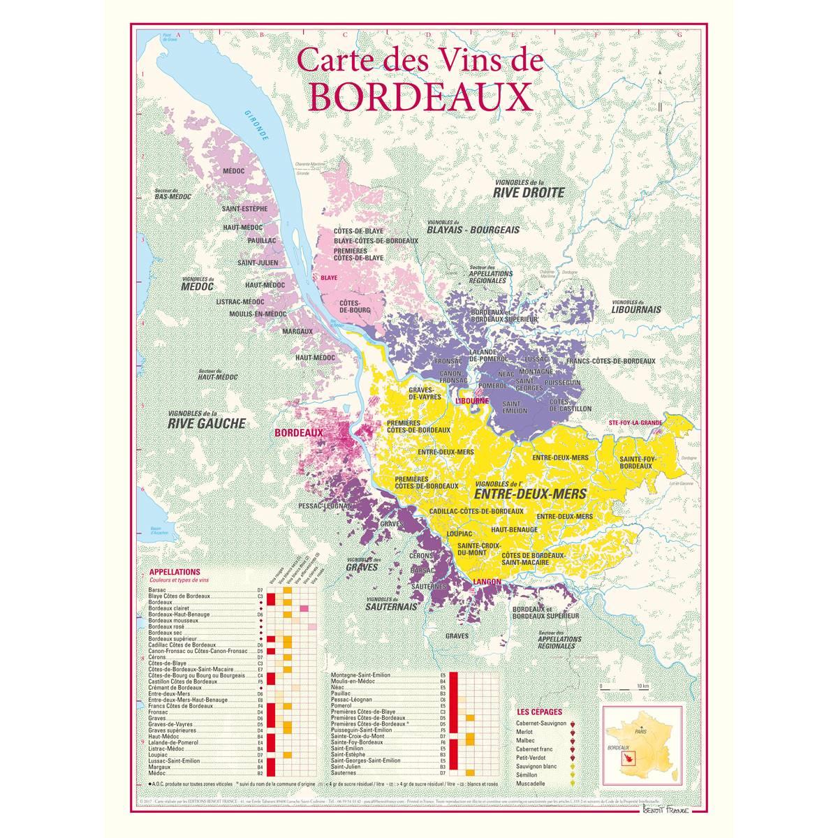 Carte des Vins de Bordeaux poster 30 x 40 cm