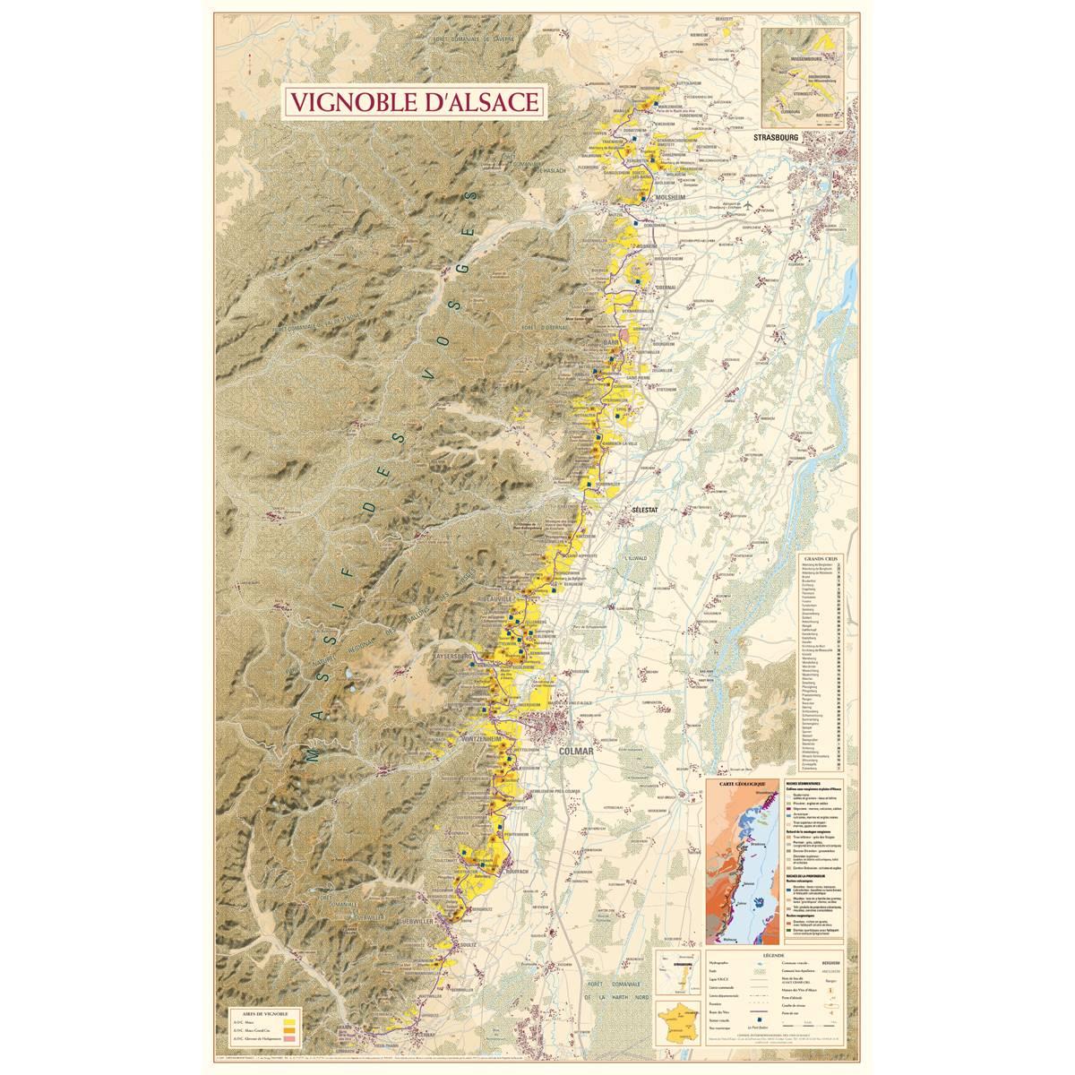 Carte du Vignoble d'Alsace poster